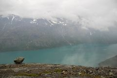 Mountain hiking in Norway. Europe summer travel in mountains and lakes of Scandinavia Stock Image