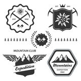 Mountain hiking outdoor symbol emblem label Stock Photos