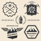 Mountain hiking outdoor symbol emblem label Stock Images