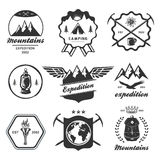 Mountain hiking outdoor symbol emblem label Stock Photo