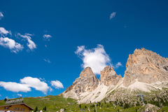 Mountain hiking Sella in Val Gardena with the Sella Group Royalty Free Stock Image