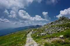 Mountain hiking trail. Summertime on an mountain hiking trail in the Low Tatras, Slovakia royalty free stock photos