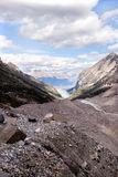 Mountain hiking trail. Plain of six glaciers trail, banff park, canada Royalty Free Stock Photos