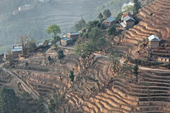 Mountain hill terrace in nagarkot nepal Stock Image