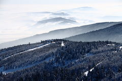 Mountain hill tops in winter Royalty Free Stock Image