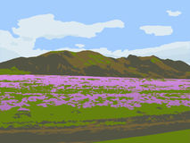 Mountain hills and a field with flowering plants. Vector illustration. Vector illustration with the image of the mountain hills against the blue sky with clouds Stock Photo