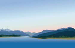 Mountain and hills landscape. Rural skyline. Lake view. Lagoon r Stock Photos