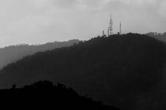 Mountain Hilly Background, Malaka, Malaysia. Mountain Hilly Background with Communication Tower.monotone. Titiwangsa Range Royalty Free Stock Images