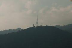 Mountain Hilly Background, Malaka, Malaysia. Mountain Hilly Background with Communication Tower.sepia. Titiwangsa Range Royalty Free Stock Photo