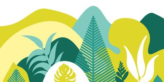 Mountain hilly landscape with tropical plants and trees, palms, succulents. Asian landscape in warm pastel colors. royalty free illustration