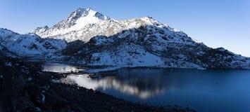 Mountain Himalata Summit in Nepal. Trekking in Himalaya Gosaikunda trek for hikers tourists Stock Photos