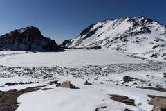 Mountain Himalata Summit in Nepal. Trekking in Himalaya Gosaikunda trek for hikers tourists Royalty Free Stock Photo