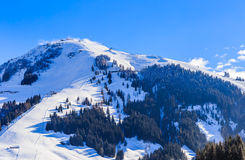 Mountain Hohe Salve with snow in winter. Ski resort  Soll, Tyrol. Austria Royalty Free Stock Images