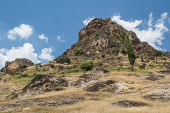 Mountain holding ruins of the medieval Markovi Kuli castle Stock Images