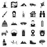 Mountain holiday icons set, simple style Royalty Free Stock Photo