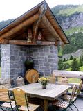 Mountain Home 2. Terrace 0f a chalet in the Swiss Alps royalty free stock photo