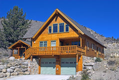 Mountain Home. Vacation home with bright blue sky in California's Sierra Nevada Stock Photo