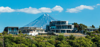 Mountain Homes. Wonderful architecture home with mountain Taranaki Stock Photo