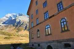 Mountain Hospice. The old hospice on the Simplon Pass providing travellers with safety as they cross the alps from Switzerland to Italy Stock Photos