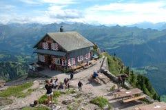 Mountain hostel on Grosser Mythen top. Royalty Free Stock Photos
