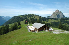 Mountain hostel and restaurant at trail towards Grosser Mythen mountain Stock Image