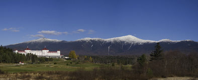 Mountain and Hotel in Late Fall. An image of Mount Washington and the White Mountains in New Hampshire.  This photo was taken in late fall Royalty Free Stock Photo