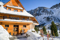 Mountain hotel Popradske pleso in High Tatras mountains, Slovaki Stock Photography