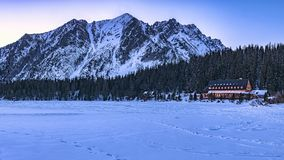 Mountain hotel on Popradskom Pleso. In the High Tatras Stock Photography