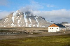 Mountain House. A building in the Svalbard region in the town of Ny Alesund located in the Arctic Stock Image