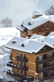 Mountain house in alpine village Stock Photos