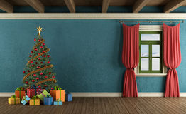 Mountain house with Christmas tree Stock Photo