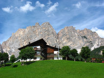 Mountain house in the Dolomites Stock Images