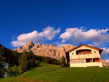 Mountain house in the Dolomites Royalty Free Stock Photos