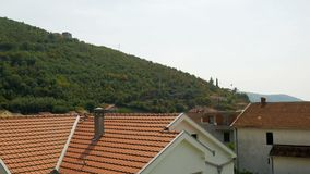 Mountain and the house in Montenegro stock video footage