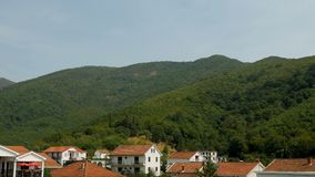 Mountain and the house in Montenegro stock footage