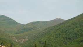 The mountain and the house in Montenegro stock footage