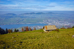 Mountain house and Panoramic view to Lake Luzerne, Alps, Switzerland Stock Photo