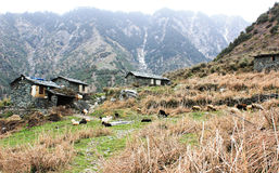 Mountain House From Stones in Himalaya Stock Photo