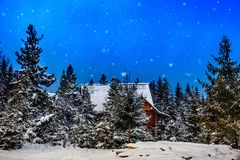 Mountain house during the winter Royalty Free Stock Image