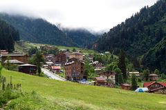 Mountain Houses in Ayder Plateau. RIZE, TURKEY - AUGUST 16, 2016 : General landscape view of famous Ayder Plateau in Camlihemsin, Rize. Ayder Plateau has wide Stock Photo