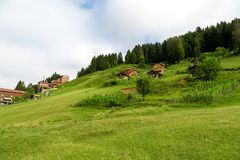 Mountain Houses in Ayder Plateau. RIZE, TURKEY - AUGUST 16, 2016 : General landscape view of famous Ayder Plateau in Camlihemsin, Rize. Ayder Plateau has wide Royalty Free Stock Images