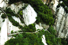 Mountain Hua. The steepest sacred mountain in central China, the Hua mountain is located 120 kilometers (75 miles) east of the city of Xi'an. Traditionally Stock Images
