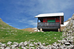Mountain hut. In Bucegi (Romania). This hut is at 1900 m altitude, near Strunga Pass royalty free stock photography