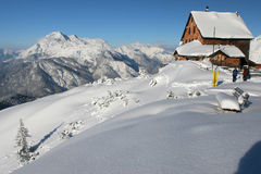 Mountain hut. Winter in the mountains - mountain hut Royalty Free Stock Photo