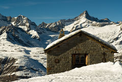 Mountain hut. In winter, zermatt, switzerland Royalty Free Stock Image
