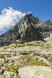 Mountain hut against peak in the Tatra mountains in Slovakia Royalty Free Stock Image