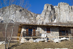 The mountain hut in the Alps Stock Photography