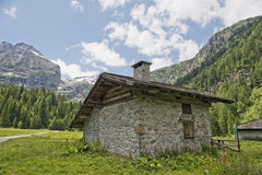Mountain hut chalet in summer Stock Image
