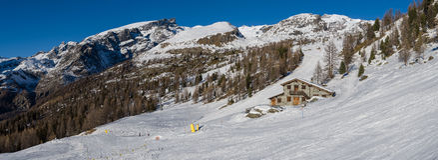 Mountain Hut in Champoluc Stock Photo