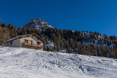 Mountain Hut in Champoluc Royalty Free Stock Images